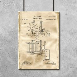 Plakat z rysunkiem konstrukcyjnym maszyny rolniczej