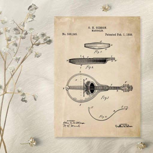 Plakat z rysunkiem mandoliny do przedpokoju