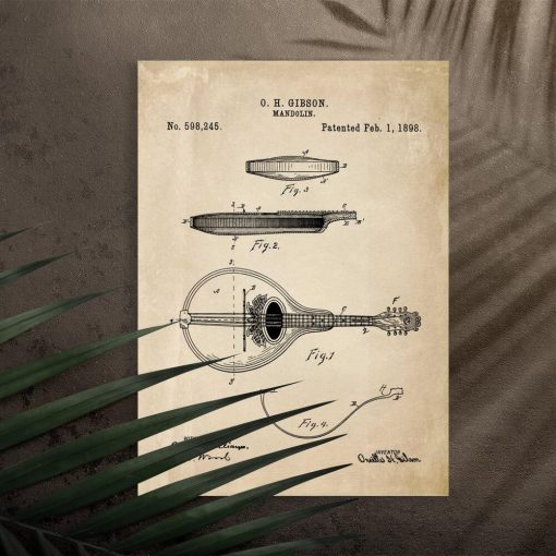 Plakat z rysunkiem mandoliny do salonu