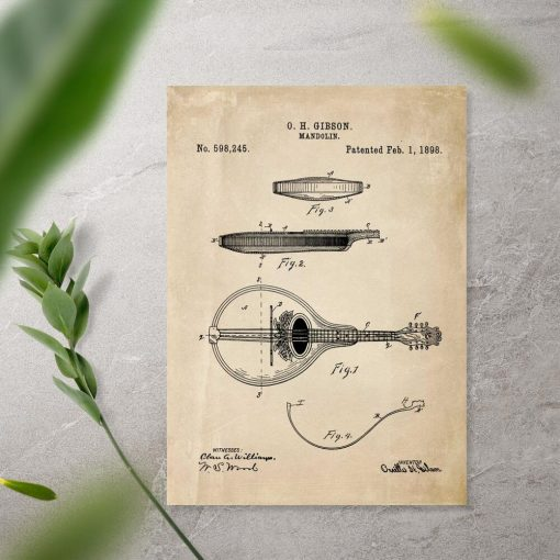 Plakat z rysunkiem mandoliny na prezent