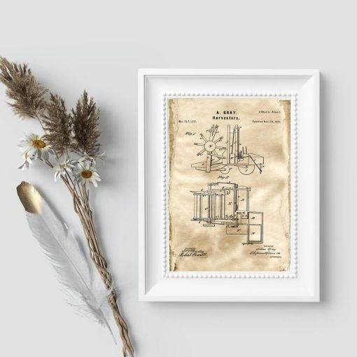 Plakat z rysunkiem patentowym na budowę maszyny roliczej