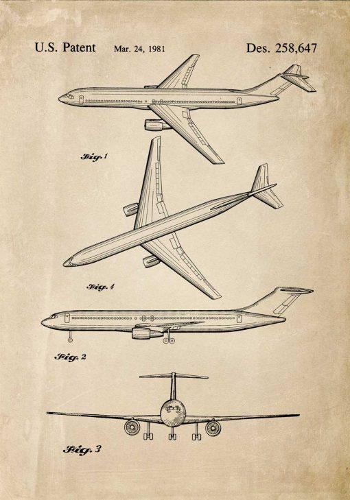 Plakat z rysunkiem patentowym samolotu pasażerskiego