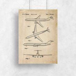 Plakat z rysunkiem patentowym samolotu pasażerskiego dla chłopca