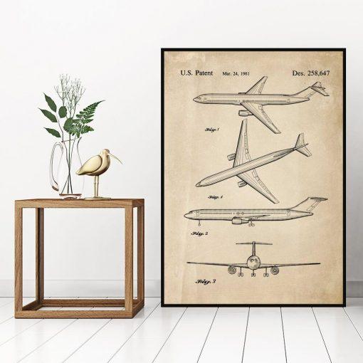 Plakat z rysunkiem patentowym samolotu pasażerskiego do biura