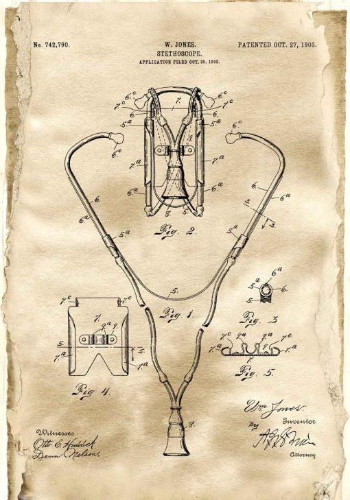 Plakat z rysunkiem patentowym - Stetoskop do szkoly