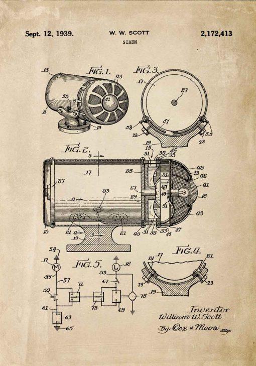 Plakat z rysunkiem patentowym syreny dźwiękowej