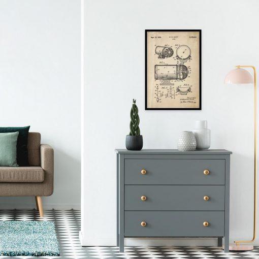 Plakat z rysunkiem patentowym syreny dźwiękowej do gabinetu