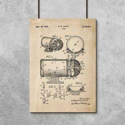 Plakat z rysunkiem patentowym syreny dźwiękowej do garażu