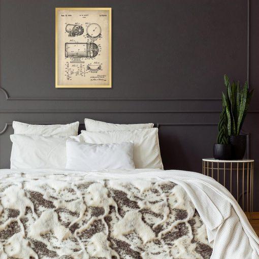 Plakat z rysunkiem patentowym syreny dźwiękowej do sypialni