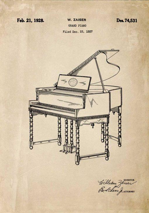 Plakat z rysunkiem pianina w kolorze sepii