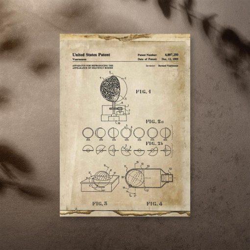 Plakat z urządzeniem do badania ciał niebieskich