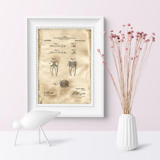 Plakat z wynalazkiem z 1922r. - patent na koronkę zęba
