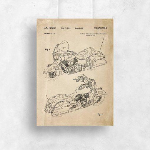 Plakat ze schematem budowy motocykla