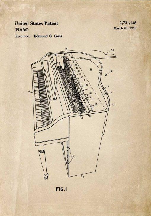 Plakat ze schematem budowy pianina
