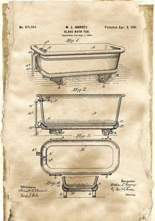 Plakat ze schematem budowy szklanej wanny - patent