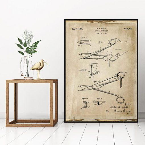 Poster dla chirurga - Patent na nożyczki do biura