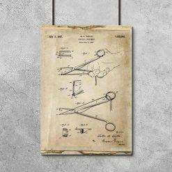 Poster dla chirurga - Patent na nożyczki do gabinetu lekarskiego