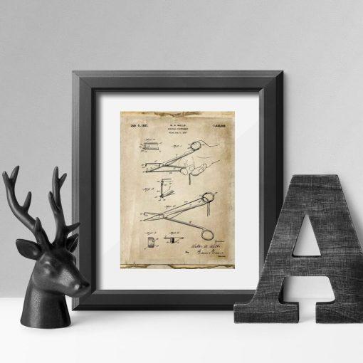 Poster dla chirurga - Patent na nożyczki do salonu