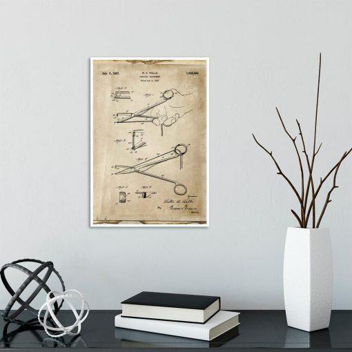 Poster dla chirurga - Patent na nożyczki do szkoły