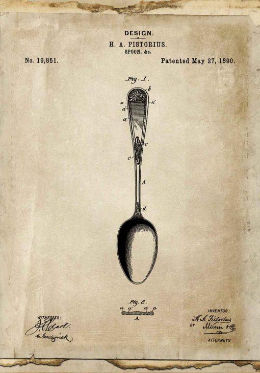 Poster z patentem na łyżkę do dekoracji kawiarni