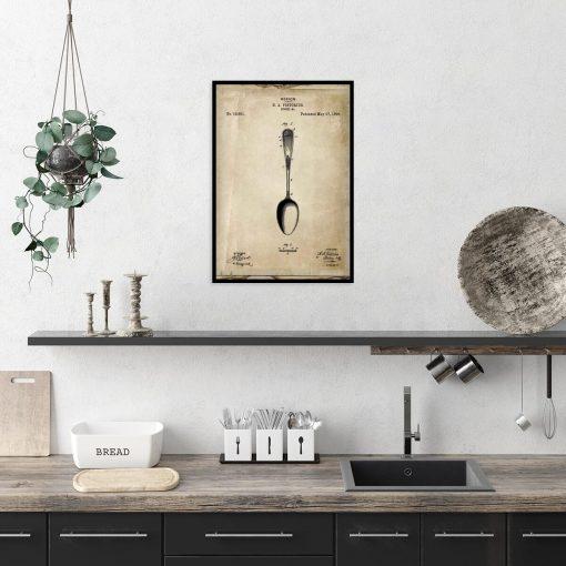 Poster z patentem na łyżkę do dekoracji kuchni