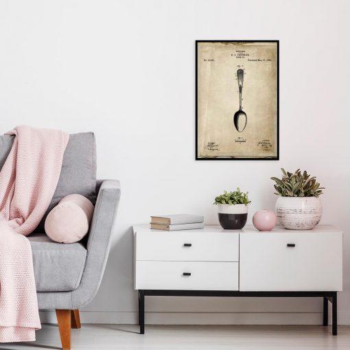 Poster z patentem na łyżkę do dekoracji salonu