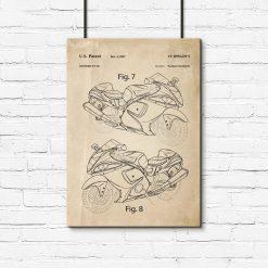 Poster z rysunkiem opisowym motocykla do garażu
