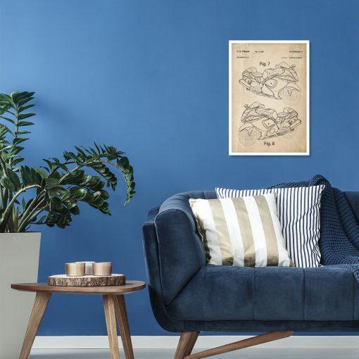 Poster z rysunkiem opisowym motocykla do salonu