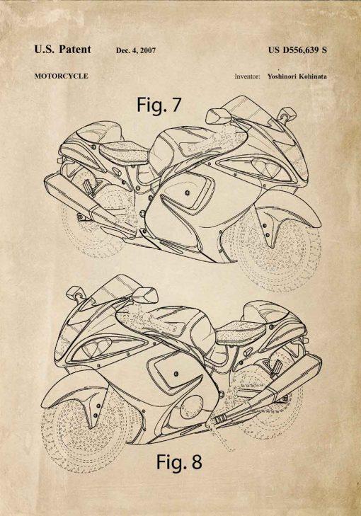 Poster z rysunkiem opisowym motocykla do warsztatu