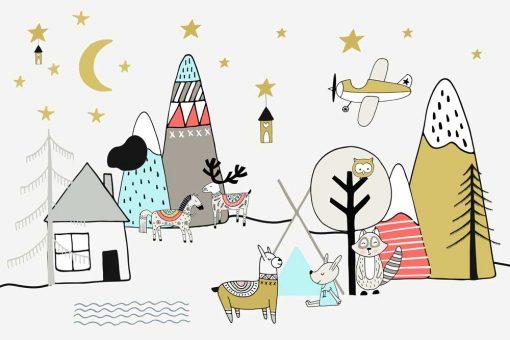 Tapeta dla dzieci góry i zwierzęta pod gwiazdami