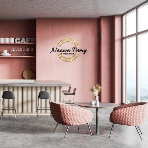Kawiarnia - logo 3d z okrągłym detalem