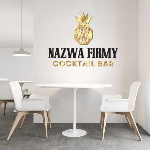 Logo 3d z ananasem - cocktail bar