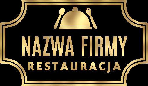 Logo 3d z daniem i sztućcami dla restauracji
