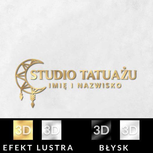 Logotyp 3d z księżycem do studia tatuażu