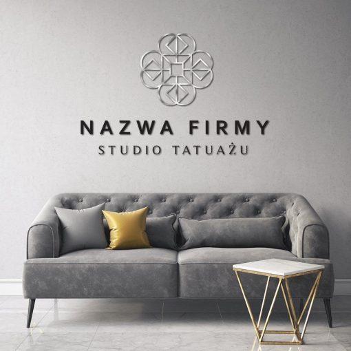 Przestrzenne logo z geometrycznym detalem - studio tatuażu