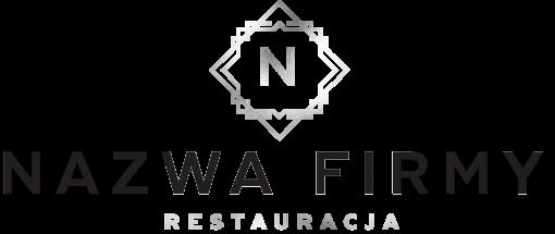 Przestrzenny logotyp z ramką i literką dla restauracji