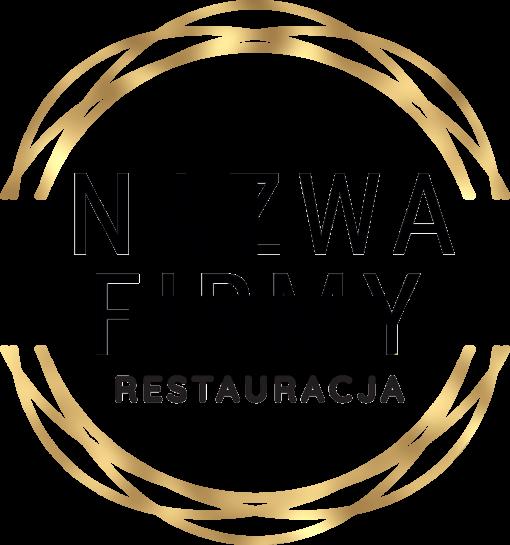 Przestrzenny logotyp ze złota ramka dla restauracji