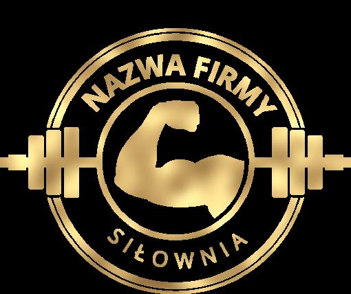 Trójwymiarowe logo z tricepsem i gryfem do siłowni