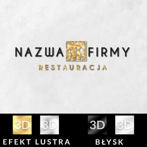 Trójwymiarowe logo ze sztućcami do restauracji