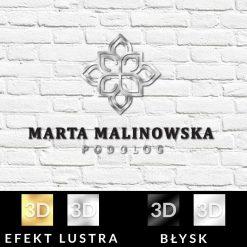 Trójwymiarowy logotyp dla podologa z kwiatem