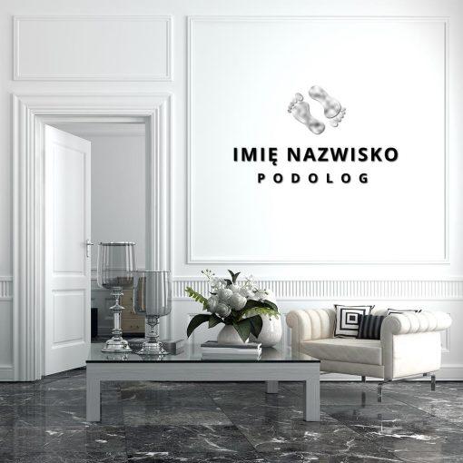 Trójwymiarowy logotyp dla podologa ze srebrnymi stopami