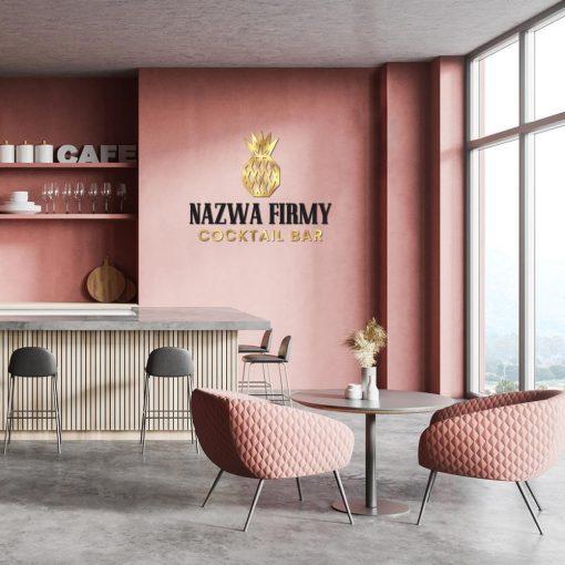 Trójwymiarowy logotyp z ananasem - cocktail bar