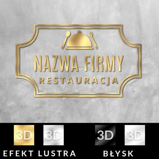 Trójwymiarowy znak firmowy z daniem dla restauracji