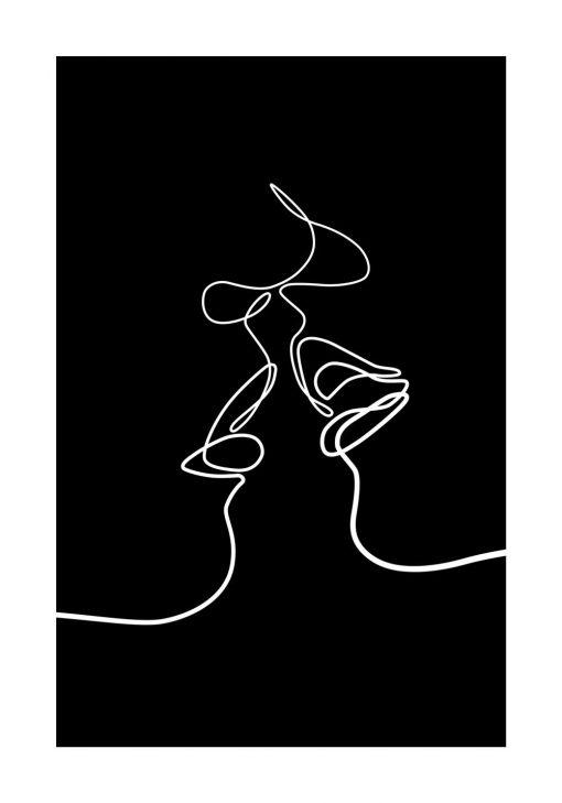 Czarno-biały plakat kobieta i mężczyzna do dekoracji ściany w sypialni