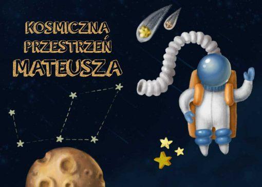 Dwa plakaty z kosmonautą i imieniem na życzenie