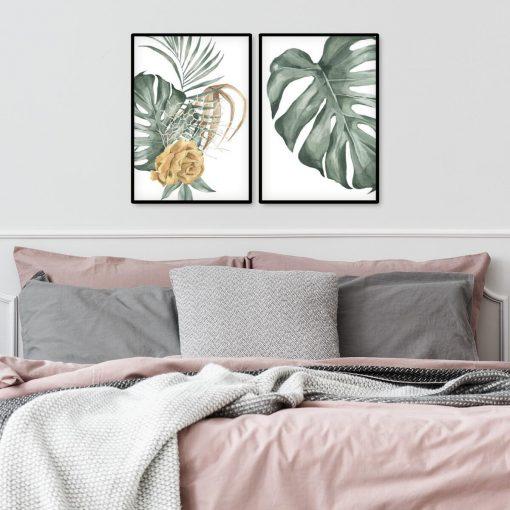 Dwa plakaty z motywem liści i kwiatów