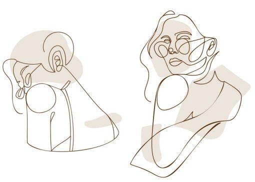 Dwa plakaty z okularnicą - line art