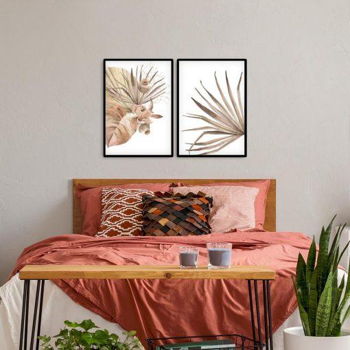 Dyptyk plakatowy z beżowymi liśćmi