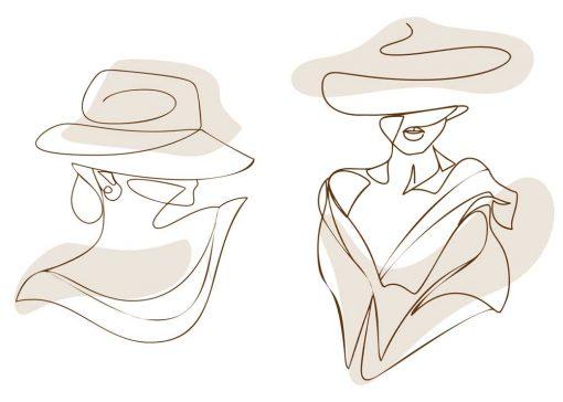 Dyptyk plakatowy z kobietą w kapeluszu - line art