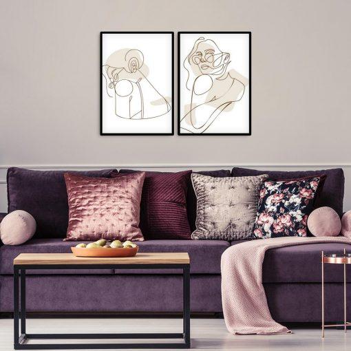 Dyptyk plakatowy z okularniczką do dekoracji salonu